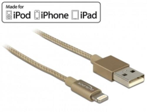 Delock USB datový a napájecí kabel pro iPhone™, iPad™, iPod™ zlatý 1m