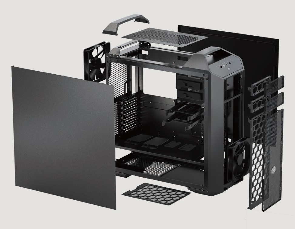 CoolerMaster case miditower modular series Master Case 5, ATX,black, USB3.0, bez zdroje