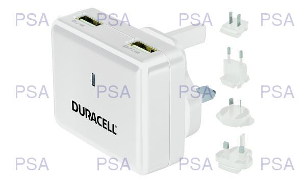 Duracell Dual USB Wall Charger 2.4A & 1A, Travel Adapter for Smartphones; Tablets