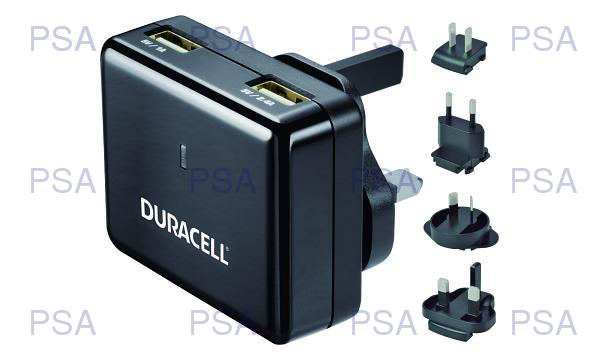 Duracell Dual USB Wall Charger 2.4A &1A, Travel Adapter for Smartphones & Tablets