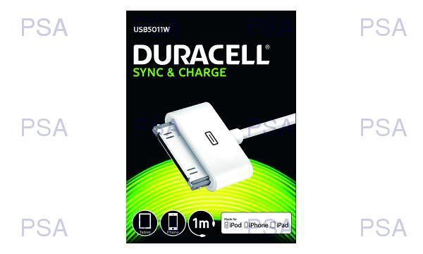 DURACELL - USB5011A - napájecí a synchronizační kabel pro Apple IPhone/iPod - 30pin bílý 1m