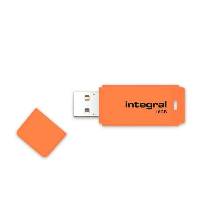 INTEGRAL Neon 16GB USB 2.0 flashdisk, oranžový