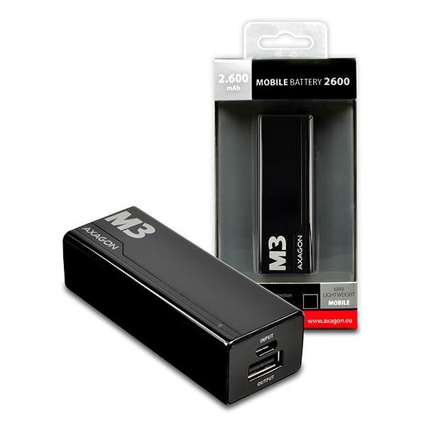 AXAGON MINI power bank 2600mAh, BLACK