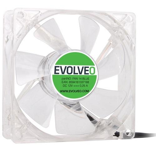 EVOLVEO ventilátor 140mm, LED modrý