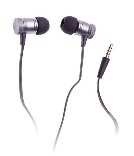 CONNECT IT sluchátka do uší s mikrofonem, kovová, černá