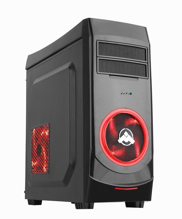 EVOLVEO R06, case ATX, herní skříň, 3x 120mm větrák, 2x USB2.0, 1x USB3.0, 1 x HD Audio, černo-červený