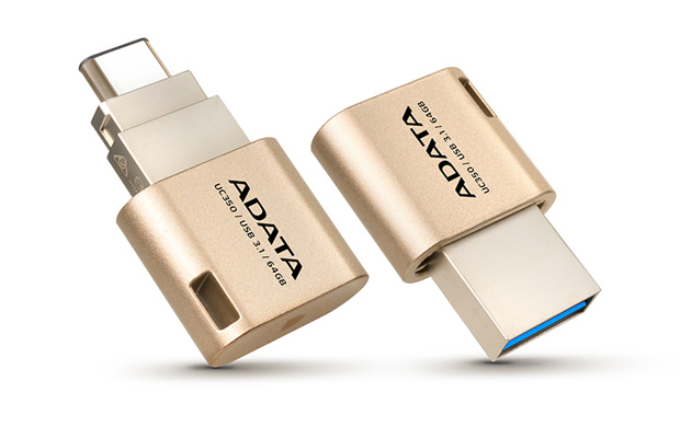 ADATA Flash Disk 16GB USB 3.0, UC350 Type A & Type C USB 3.1(Gen 1), zlatý