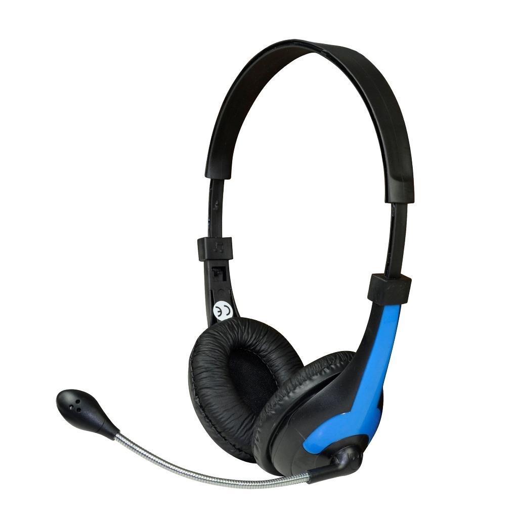MSONIC Sluchátka s mikrofonem, na uši, ovládání hlasitosti MH538KB černá-modrá