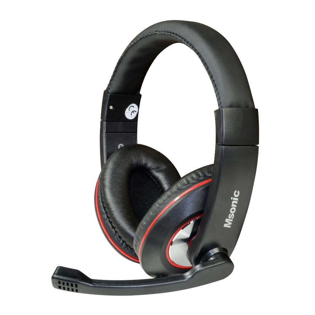 MSONIC Sluchátka s mikrofonem, na uši, ovládání hlasitosti MH535KR černá-červená