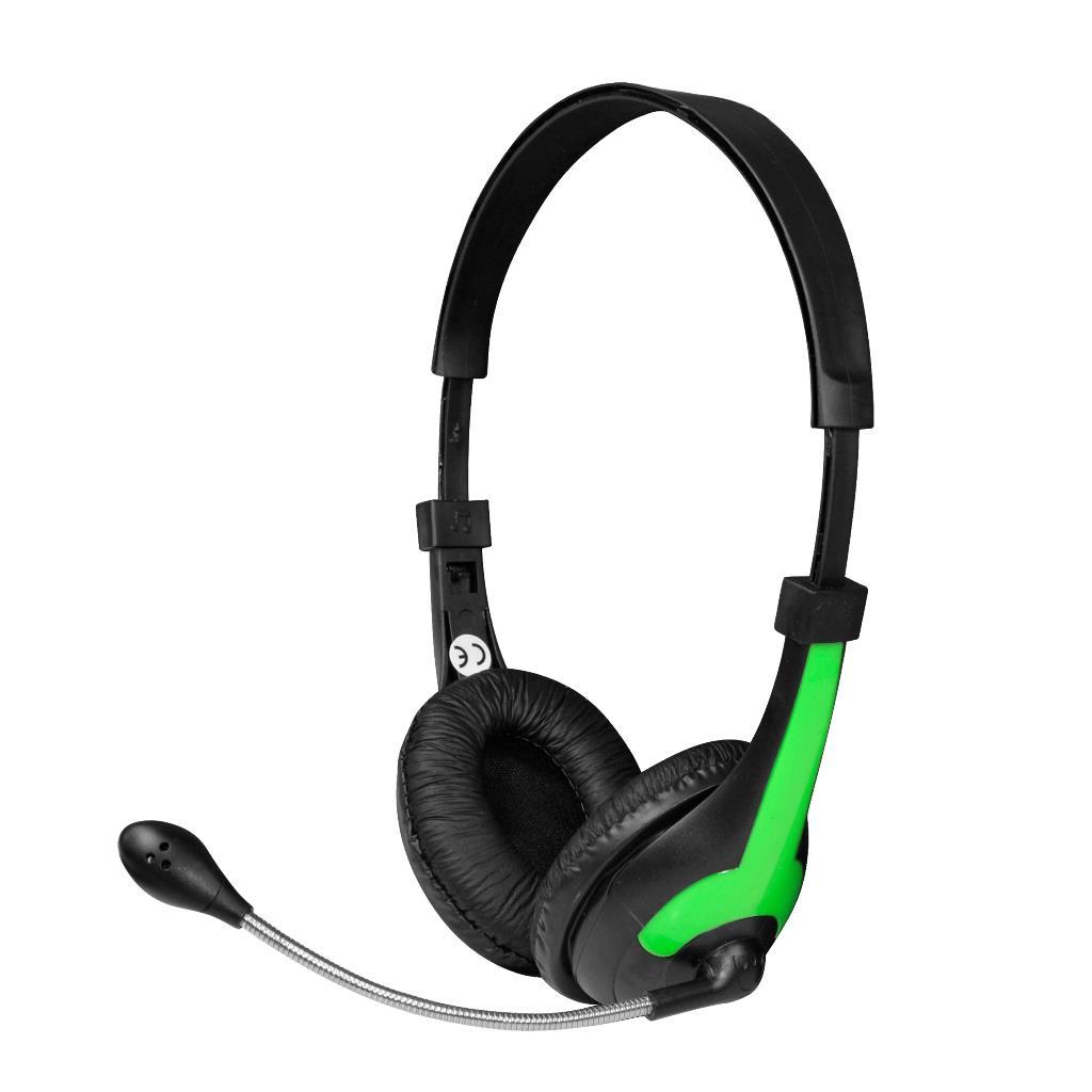 MSONIC Sluchátka s mikrofonem, na uši, ovládání hlasitosti MH538KG černá-zelená