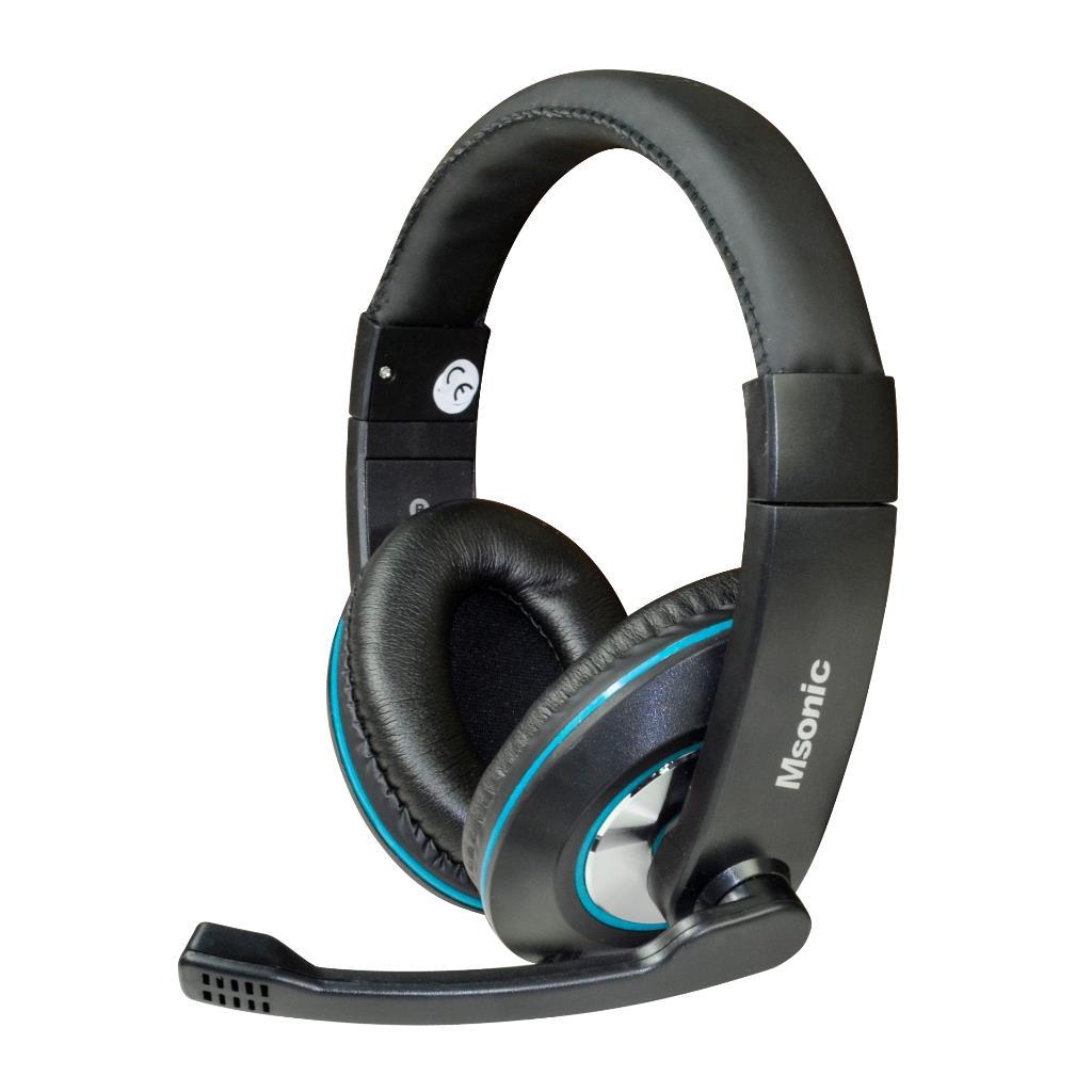 MSONIC Sluchátka s mikrofonem, na uši, ovládání hlasitosti MH535KB černá-modrá