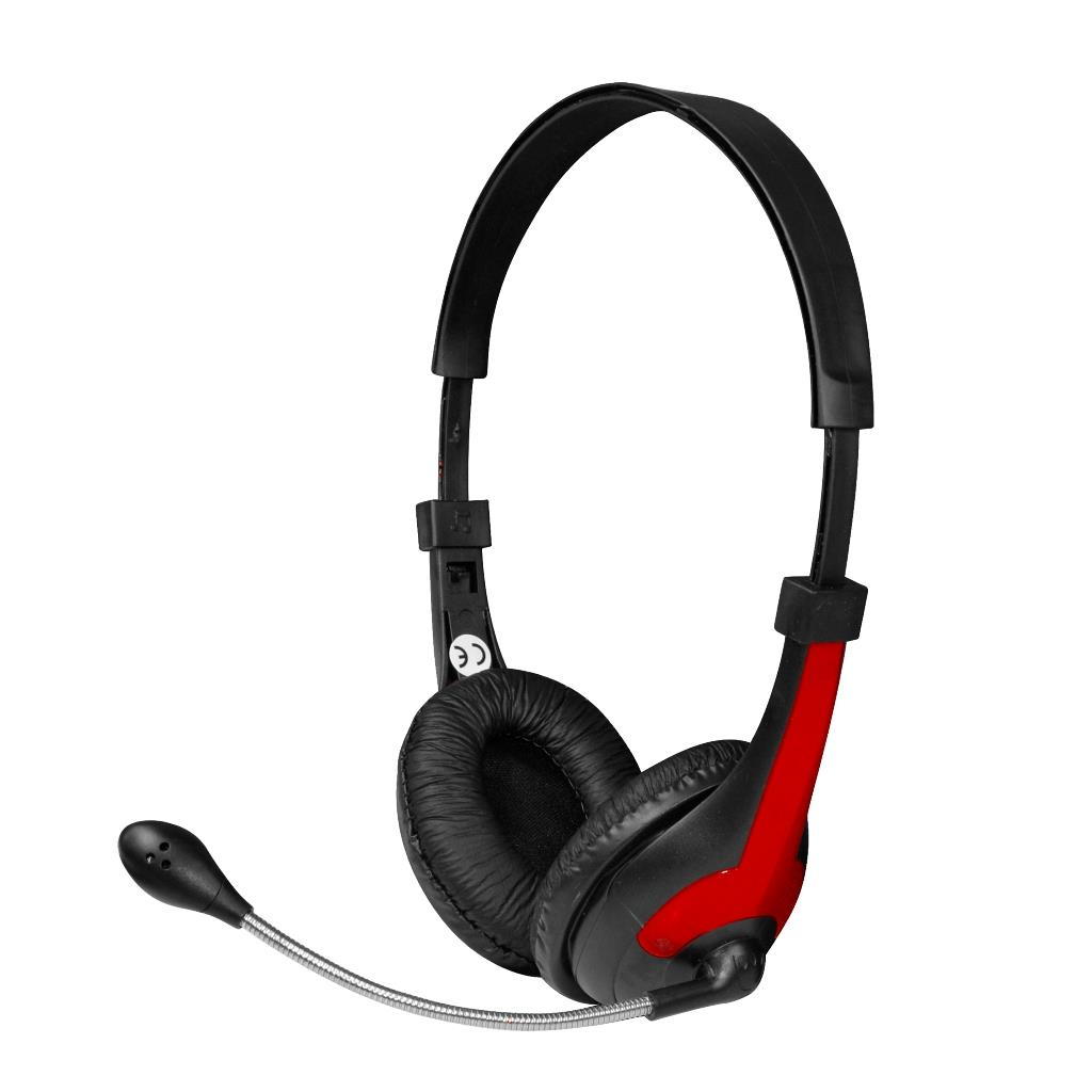 MSONIC Sluchátka s mikrofonem, na uši, ovládání hlasitosti MH538KR černá-červená