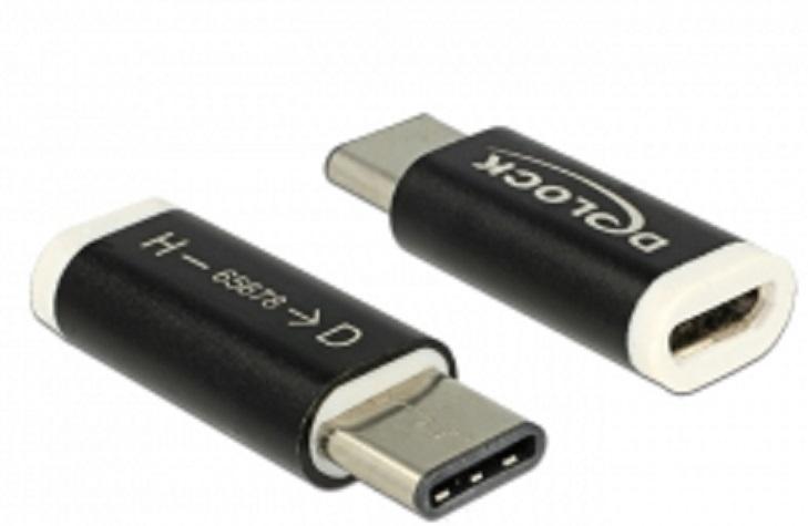 Delock Černý Adaptér USB 2.0 Micro-B samice (zařízení) > USB Type-C™ 2.0 samec (zařízení)