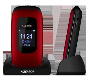 Aligator V600 Senior, červená-černá + nabíjecí stojánek