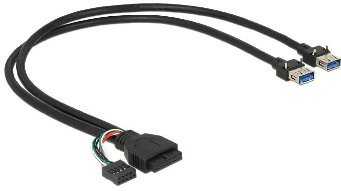 Delock kabel USB 3.0 pin konektor samice + USB 2.0 pin konektor samice > 2 x USB 3.0 A samice 45 cm