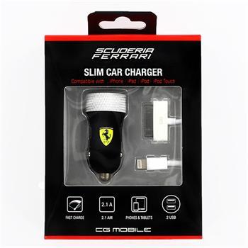 Ferrari Rubber Dual iPhone USB AutoDobíječ 2,1A Black