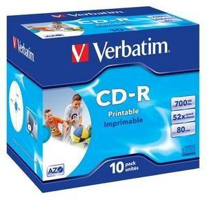 VERBATIM CD-R(10-Pack)Jewel/Printable/52x/700MB