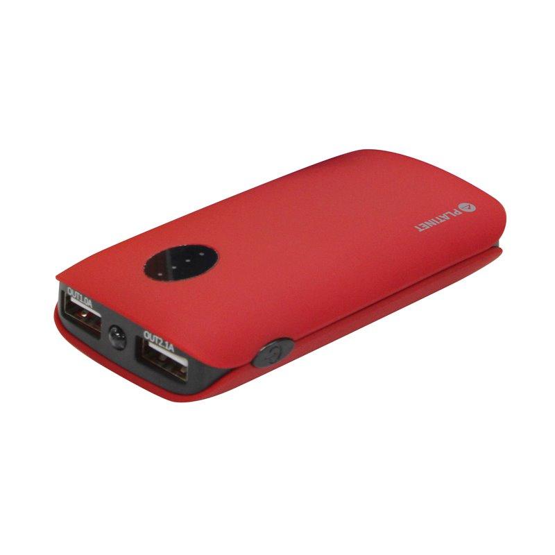 POWERBANK 5 000mAh 2 xUSB (1A + 2.1A), červená