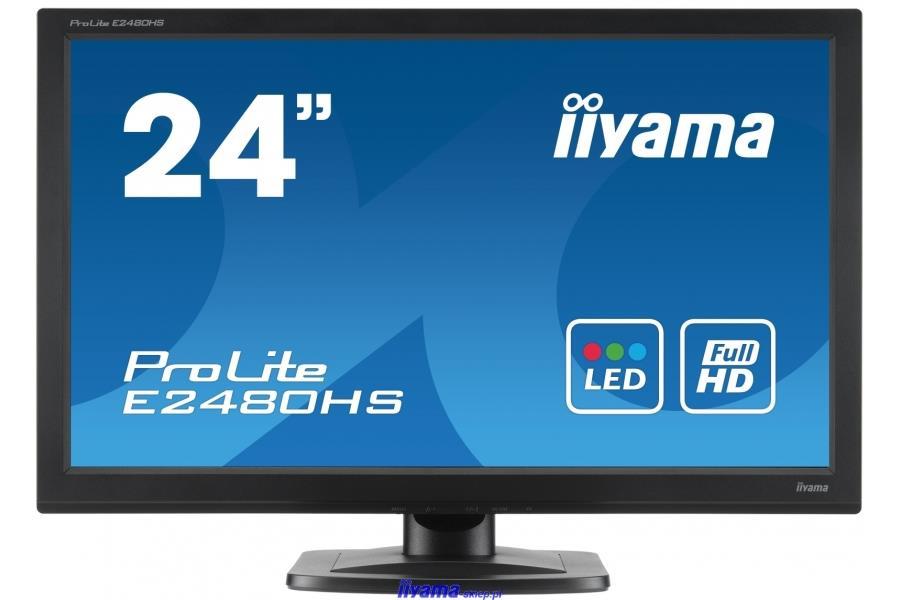 "24""LCD iiyama E2480HS-B2 - 2ms, 250cd/m2, 1000:1 (5M:1 ACR), FullHD, VGA, DVI, HDMI, repro, černý"