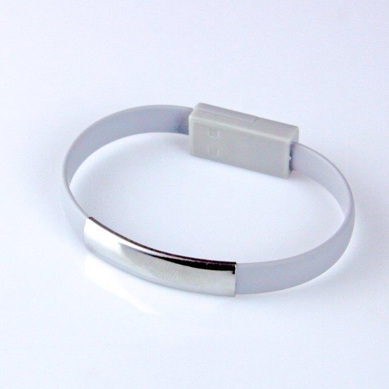 GT kabel USB pro iPhone 6/6s/5/5s, náramek, šedý
