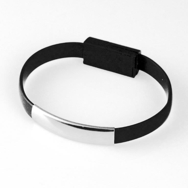 GT kabel USB pro iPhone 6/6s/5/5s, náramek, černý