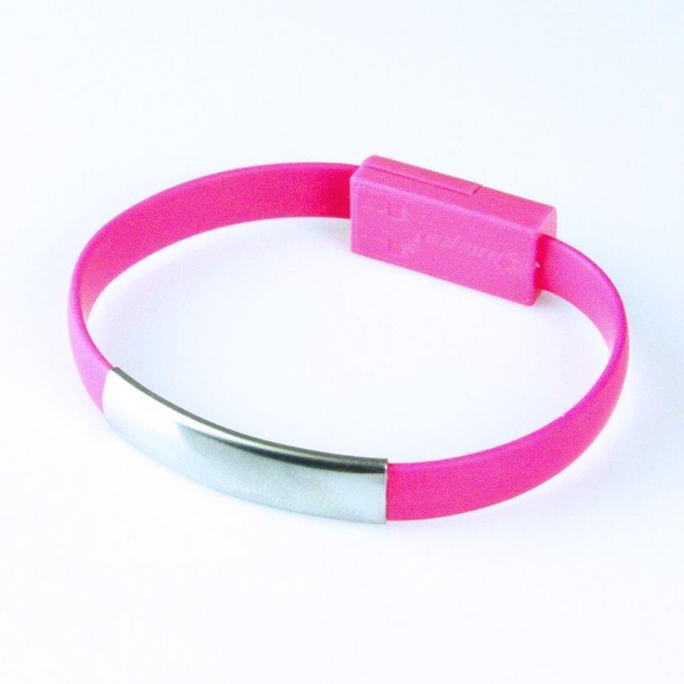 GT kabel USB pro iPhone 6/6s/5/5s, náramek, růžový
