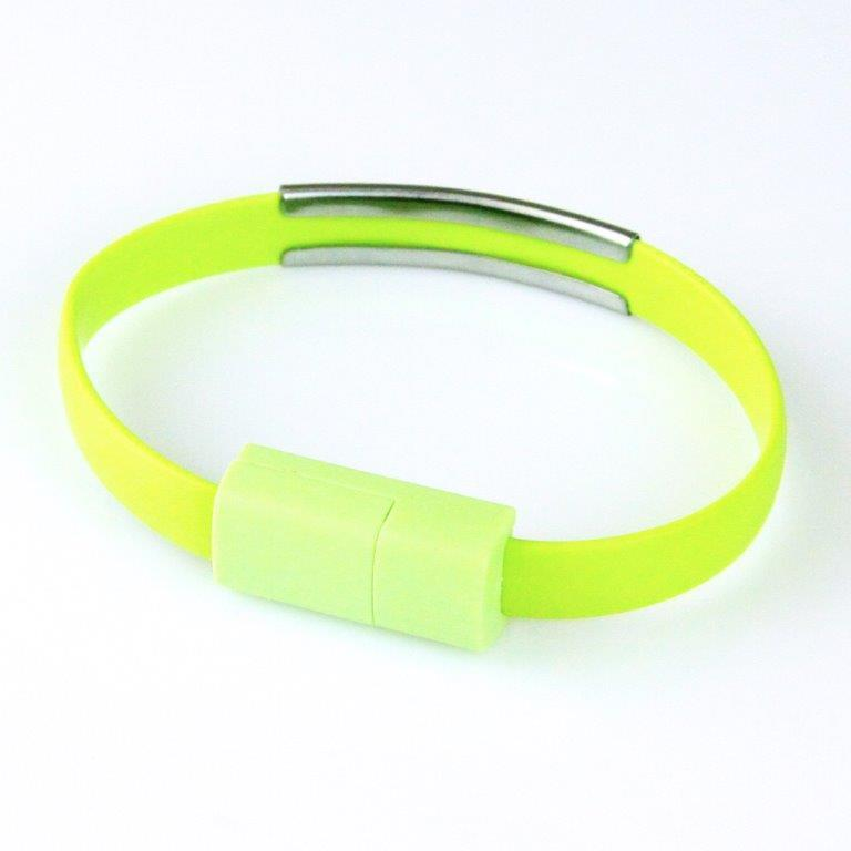 GT kabel USB pro iPhone 6/6s/5/5s, náramek, zelený