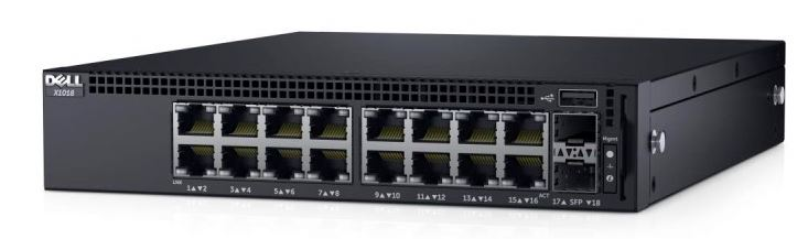 DELL Networking X1018 gigabit switch/16x 10/100/1000 port/2xSFP 1Gb/Web smart management/NBD on-site