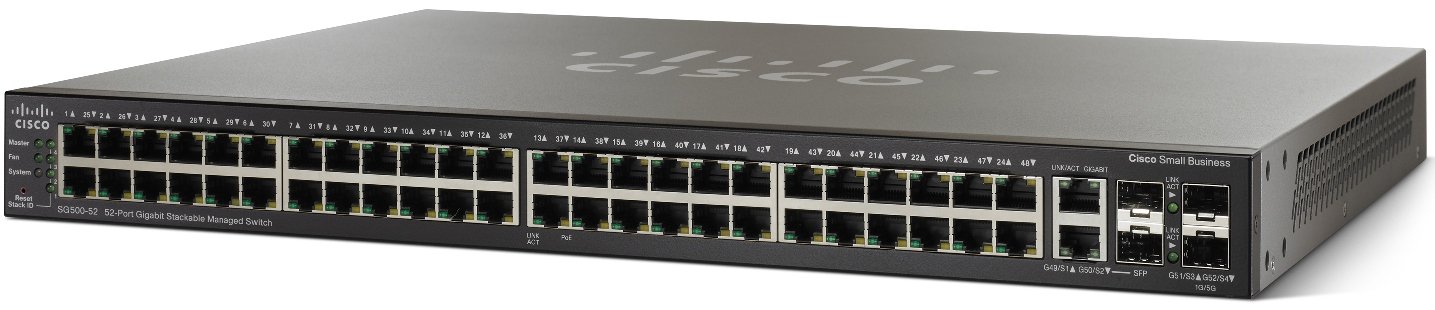 Cisco SG500-52, 48xGig Stack switch + 4xG ports