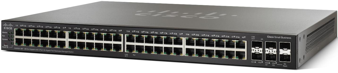 Cisco switch SG500X-48P, 48x1000BaseT + 4x10Gbit SFP, PoE, SNMP, stohovatelný, L3