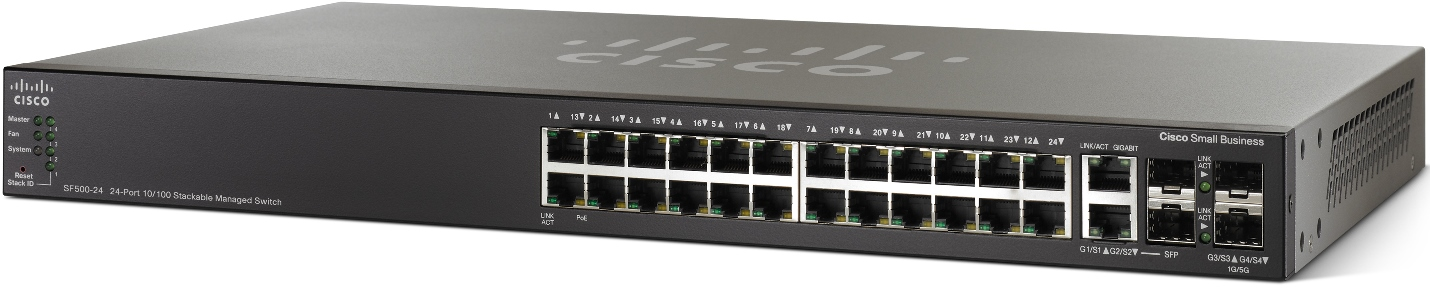 Cisco SF500-24, 24x10/100 Stack switch + 4xG ports