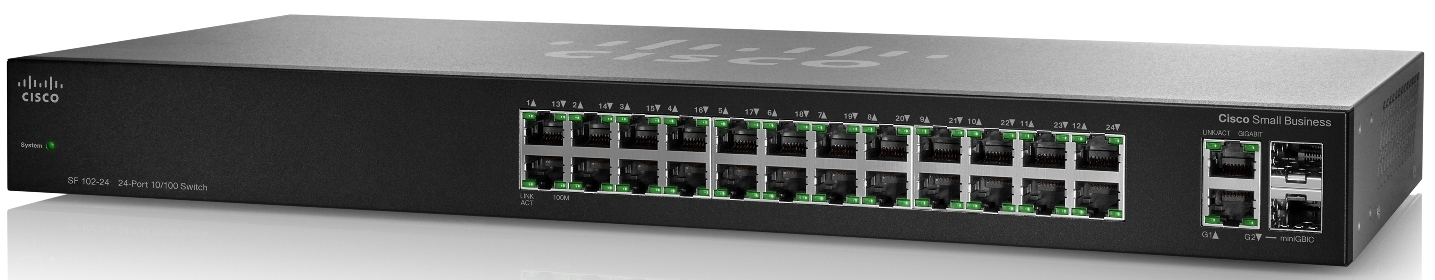 Cisco SF102-24, 24x10/100 + 2xGig, (SF102-24-EU)