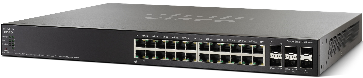 Cisco SG500X-24P, 24xGig, PoE, 4x10G Stack switch
