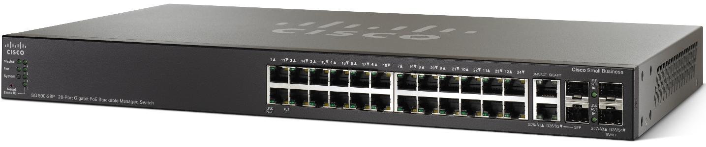 Cisco SG500-28P, 24xGig, PoE, Stack + 4xG ports