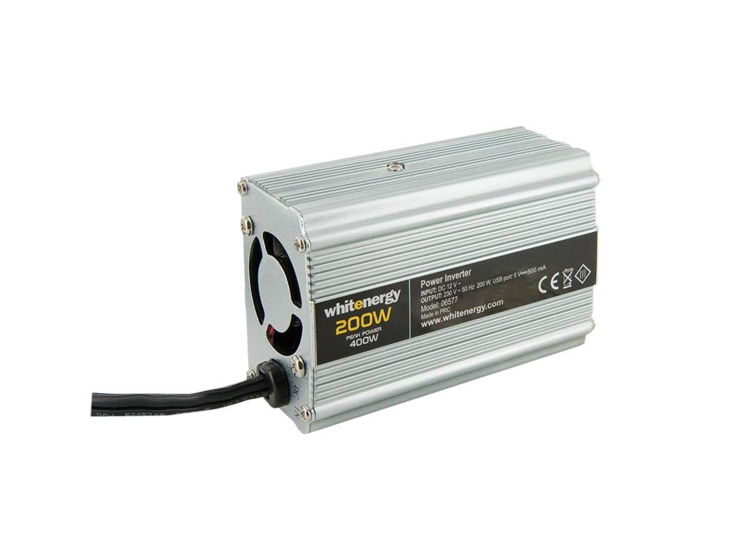 WE Měnič napětí DC/AC 12V / 230V, 200W, USB