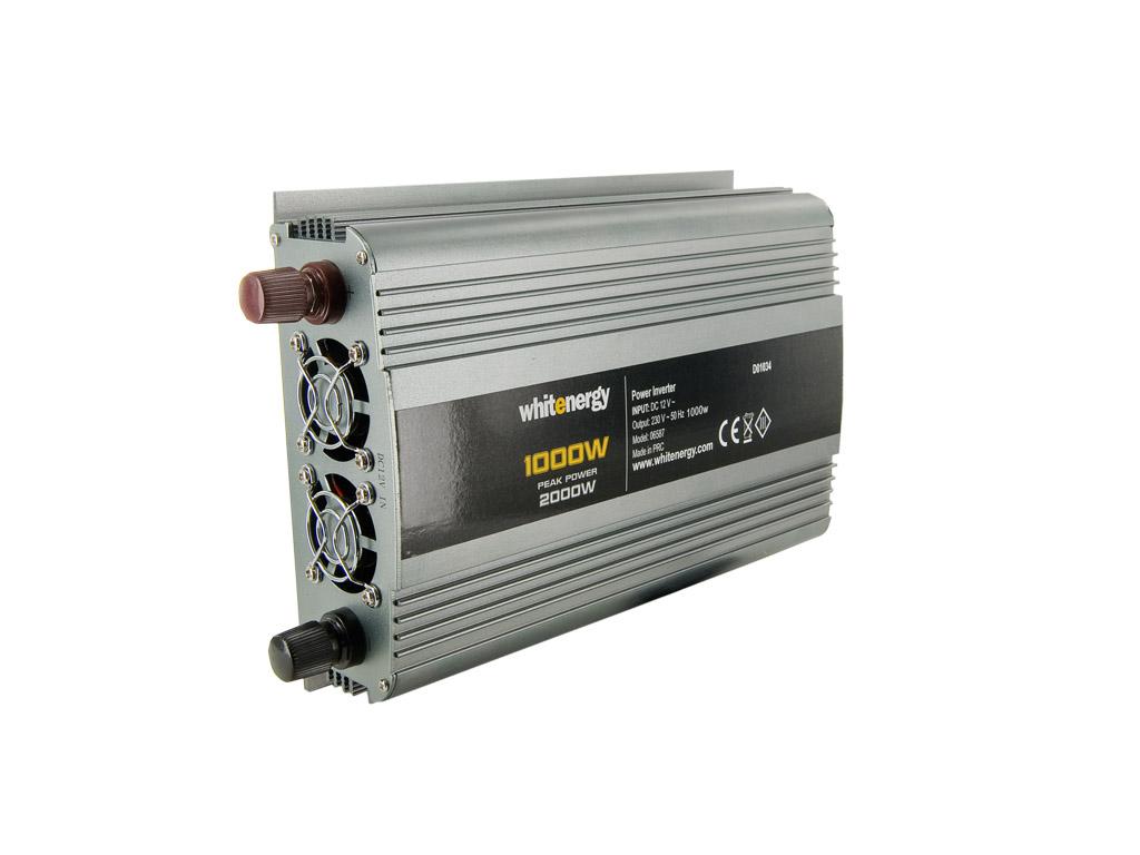 WE Měnič napětí DC/AC 12V / 230V, 1000W, 2 zásuvky