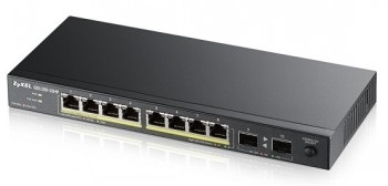 ZyXEL GS1100-10HP, 10-port Desktop Gigabit Ethernet switch: 8x Gigabit metal + 2x SFP, 802.3az (Green), PoE 802.3at(High