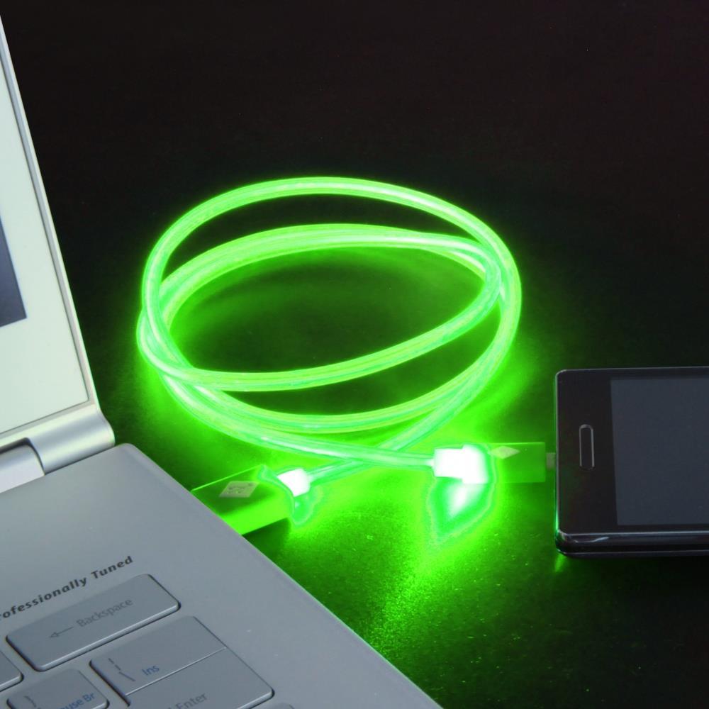 GT kabel USB pro iPhone 6/6s svítící 1m zelený