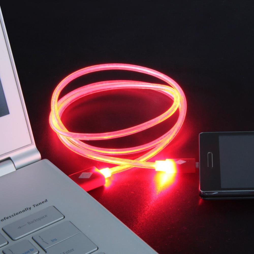 GT kabel USB pro iPhone 6/6s svítící 1m červený