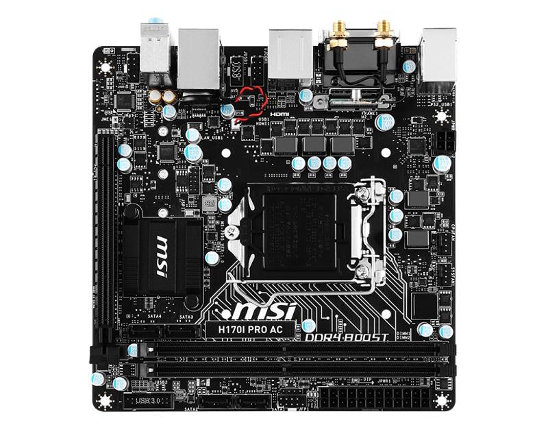 MSI H170I PRO AC, H170, DualDDR4-2133, SATA3, M.2, HDMI, DVI, USB 3.1, mITX