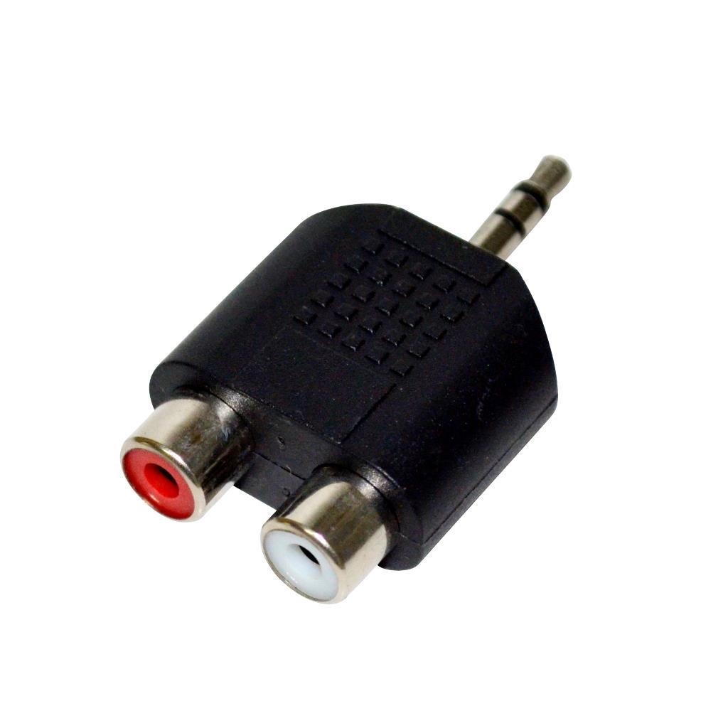 Vakoss Adapter audio minijack 3,5mm stereo -> 2x RCA F TC-A101K black