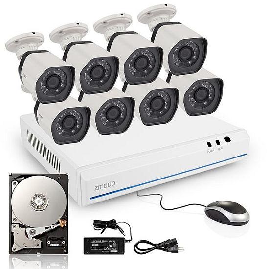 ZMODO 8-kanálový rekordér NVR + 8x IR IP kamera s PoE + 1TB HDD