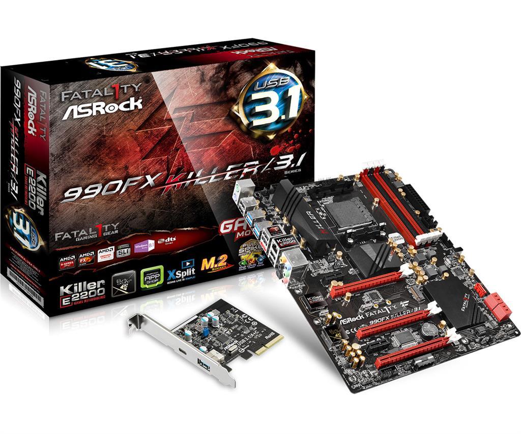 ASRock Fatal1ty 990FX KILLER/3.1, 990FX, SB950, DualDDR3-1600, SATA3, RAID, ATX