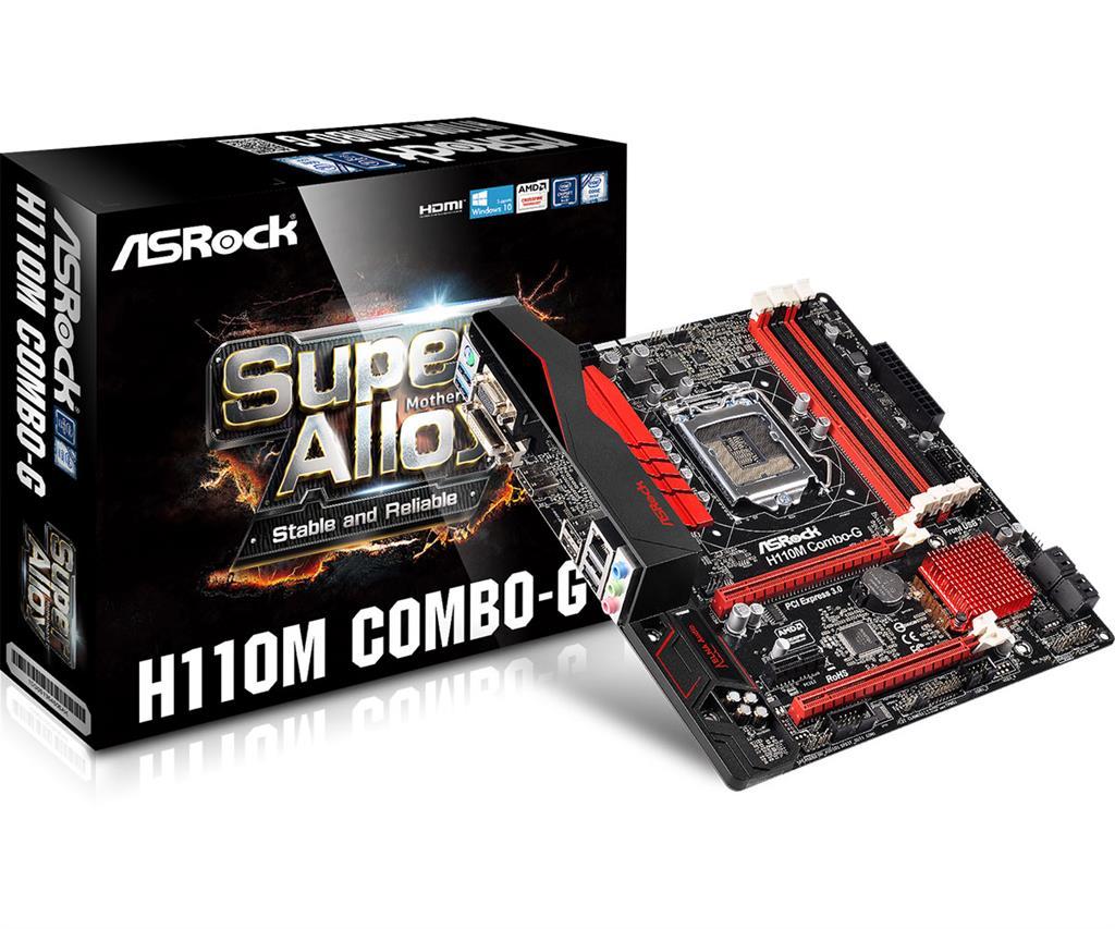 ASRock MB Sc LGA1151 H110M COMBO-G, Intel H110, 2xDDR3, 2xDDR4, VGA, mATX