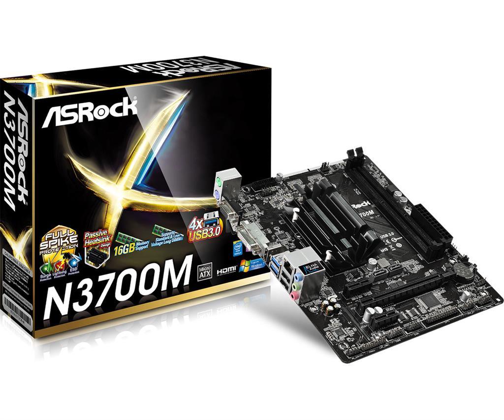 ASRock N3700M, N3700, DualDDR3-1600, SATA3, HDMI, DVI, D-Sub, USB 3.0, mATX