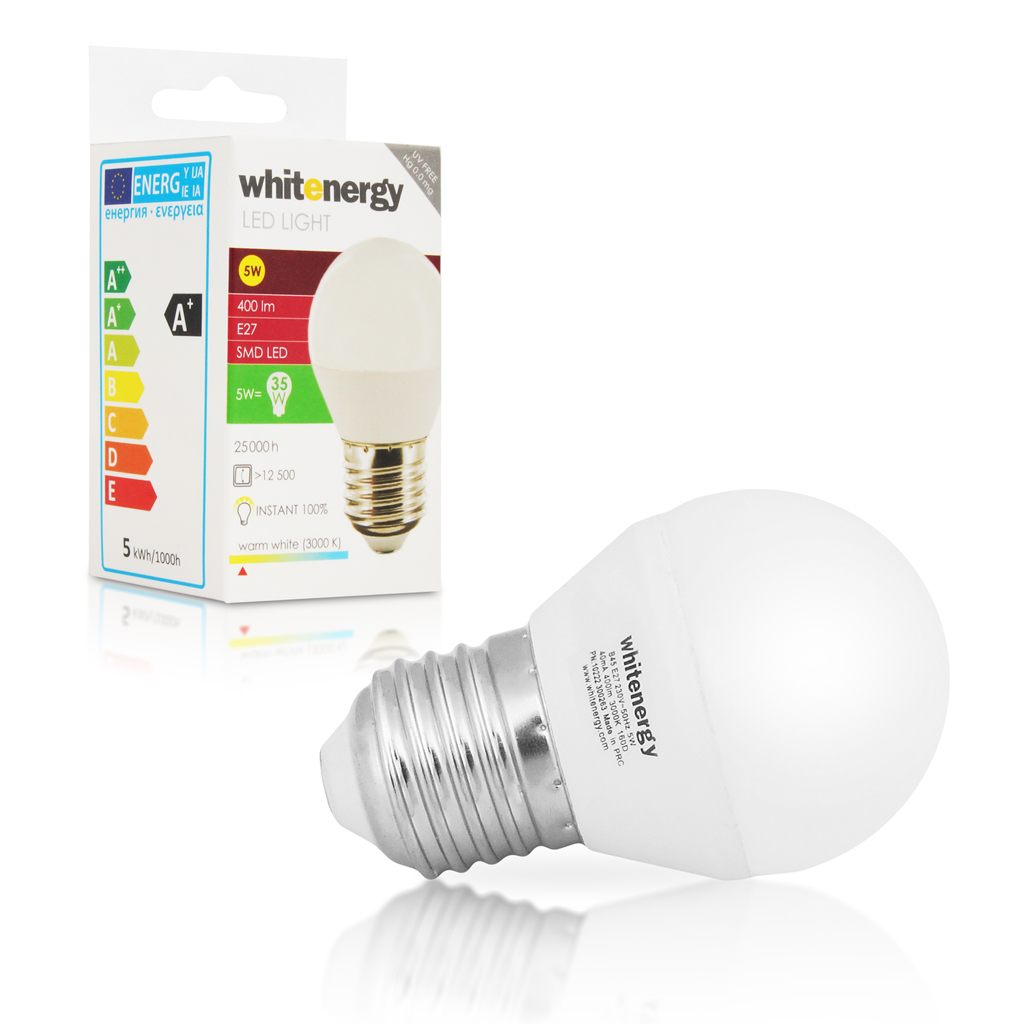 Whitenergy LED žárovka | 10xSMD2835| B45 | E27 | 5W | 230V |teplá bílá| mléko