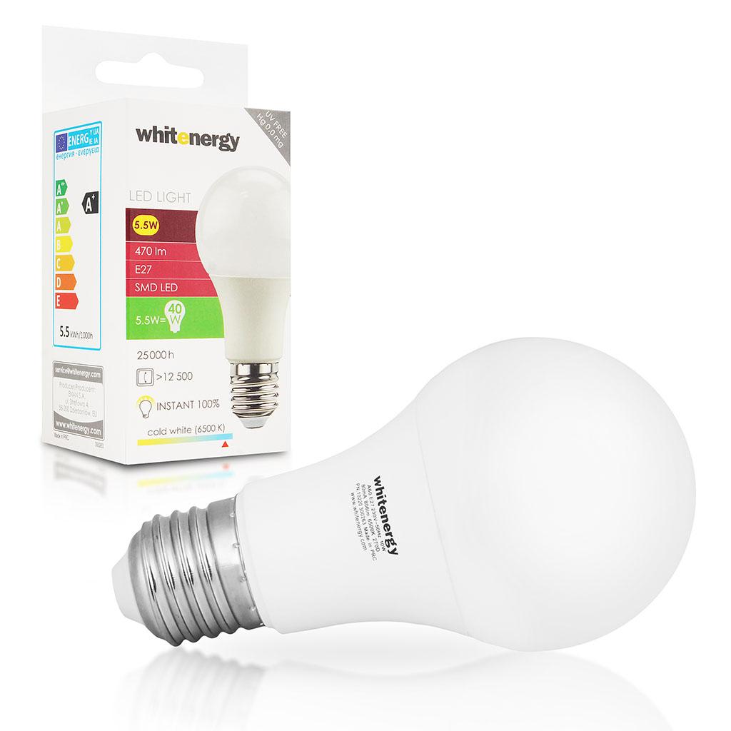 WE LED žárovka SMD2835 A60 E27 10W studená bílá