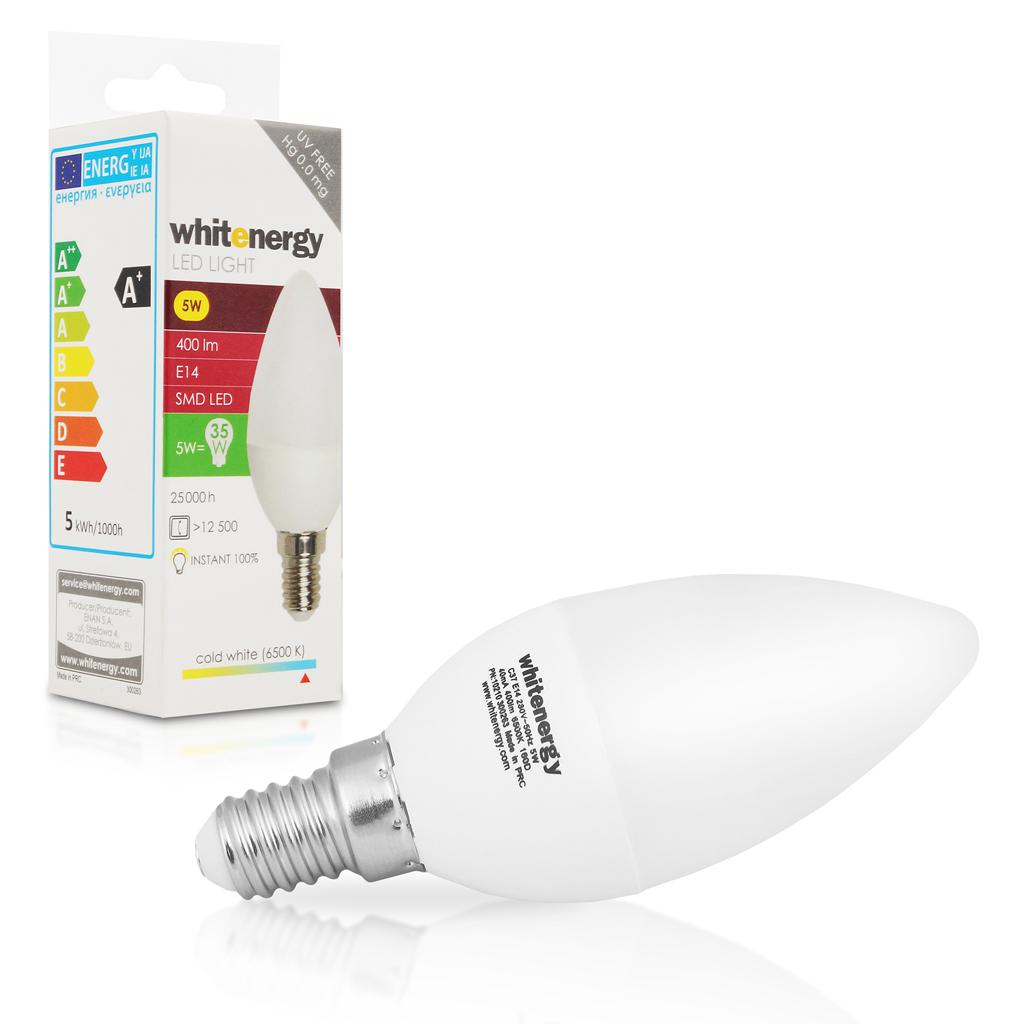 WE LED žárovka SMD2835 C37 E14 5W studená bílá
