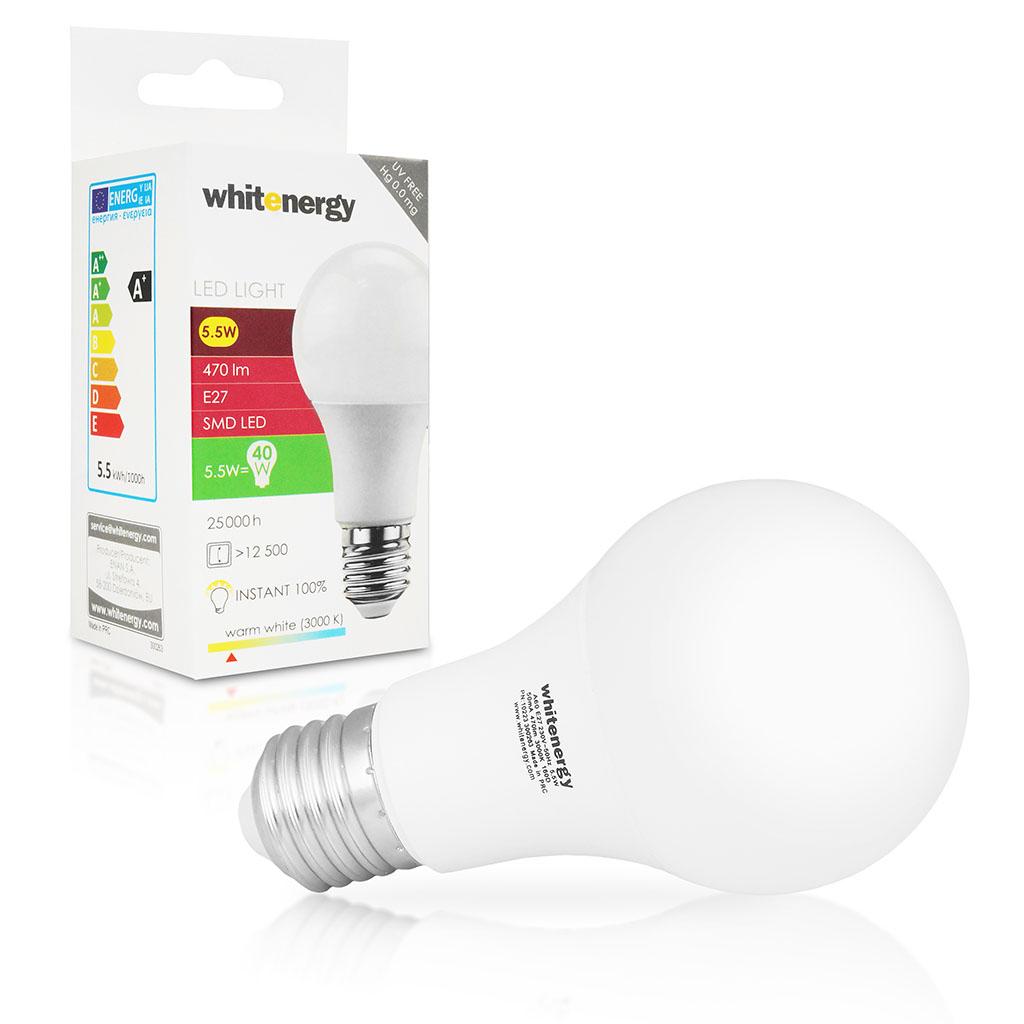 Whitenergy LED žárovka | E27 | 6 SMD2835 | 5.5W | 230V | teplá bílá | A60