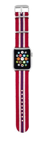 TRUST Nylonový náramek pro hodinky Apple Watch 42 mm, red striped